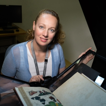 Grace Blake with Book Scanner